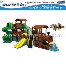 Multi-Slide and High Layer Outdoor School Children Train Galvanized Steel Playground on Discount