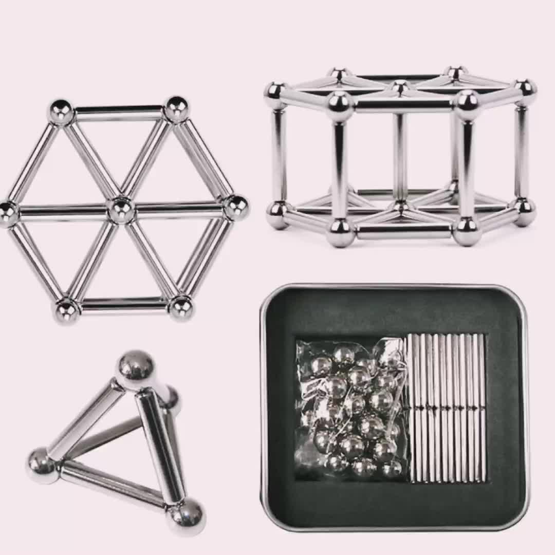 2020 New Puzzle Toy Magnet Bars with Steel Balls Magnetic Sticks And Balls