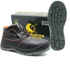 Lightweight black leather non slip european safety shoes with composite toe