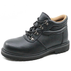 Oil resistant black leather goodyear welted safety shoe with steel toe