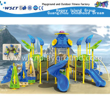 Outdoor Children School Multi-Slide Blue Sea Breeze Galvanized Steel Playground (HA-03301)