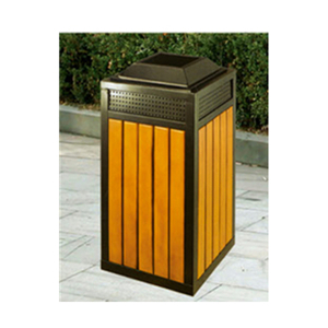 Outdoor Patio Wooden Square Trash Can (HHK-15104)
