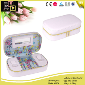White PU leather Hand Made Zipper Closure Jewelry Box