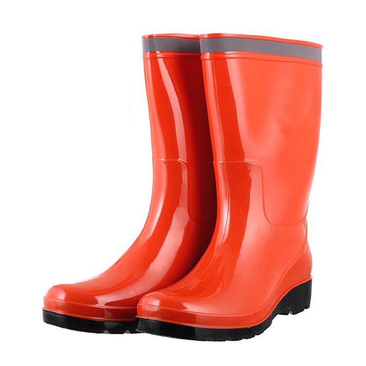 Anti slip cheap non safety women pvc work rain boots with reflective tape