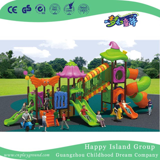 Outdoor Children Vegetable Roof Playground Equipment with Cylindrical Slide (HG-9301)