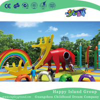 Outdoor Amusement Park Children Bright Red Deer Shape Slide Animal Playground (HHK-3601)