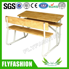 High Quality Metal Frame Wood Double Desk and Chair (SF-38D)