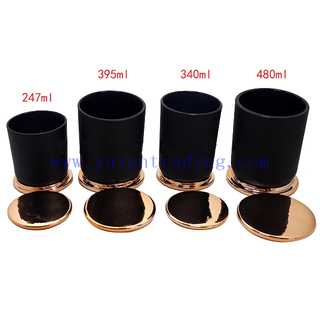 250ml 350ml 400ml 480ml Round Cylinder Black Glass Candle Jars with Copper Lids