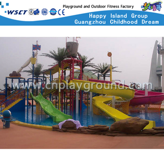 Outdoor Hotel Amusement Park Water Center Slide Playgrounds (A-06906)