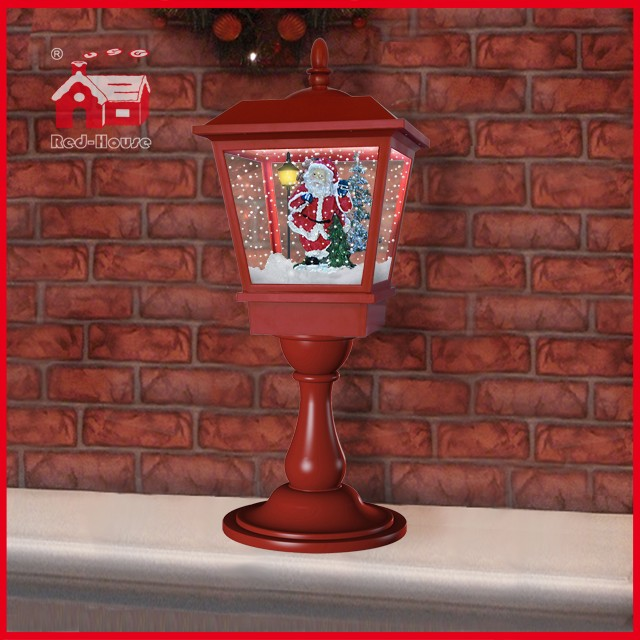 (LT27064D-R) 2016 Musical Santa Claus Snowing Red Tabletop Christmas Lamp