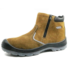 Slip resistant rubber out sole steel toe no lace safety shoes with zipper