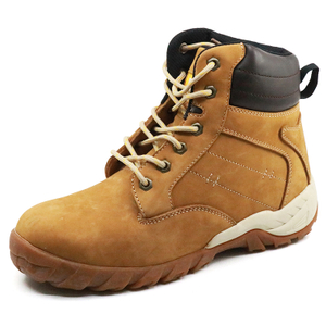 Yellow nubuck leather cemented safety boots with steel toe cap
