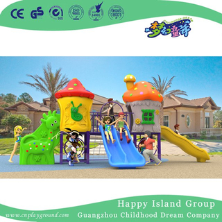 New Design Outdoor Small Mushroom House Playground with Combination Slide (H17-A4)
