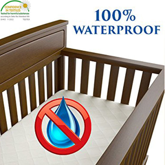 Breathable Bamboo Waterproof Crib Mattress Pad Cover/Protector