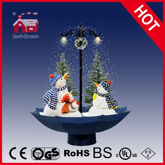 (118030U075-3S-BW) Snowing Christmas Decorations with Umbrella Base