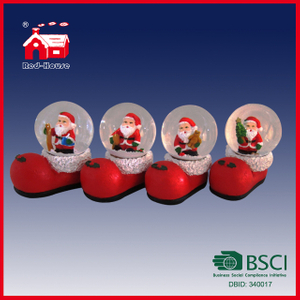Santa Claus inside Shoes Shape Glass Water Snow Globe