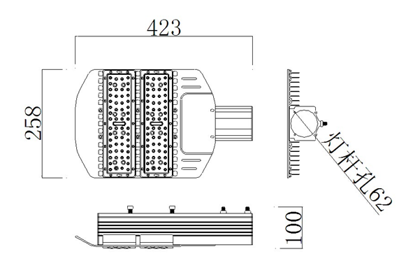 size diagram of 80W led street lamp