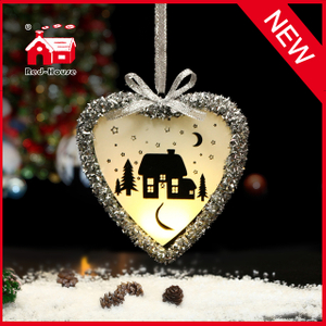 Christmas Hanging Heart Shaped Glass Ornament for Decoration