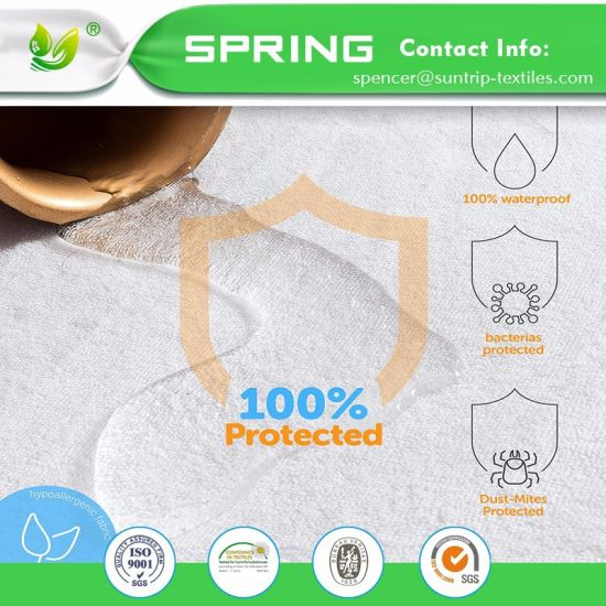 Hypoallergenic 100% Waterproof Mattress Protector with Cotton Terry Surface Bed Bugs Vinyl Free Fitted Style