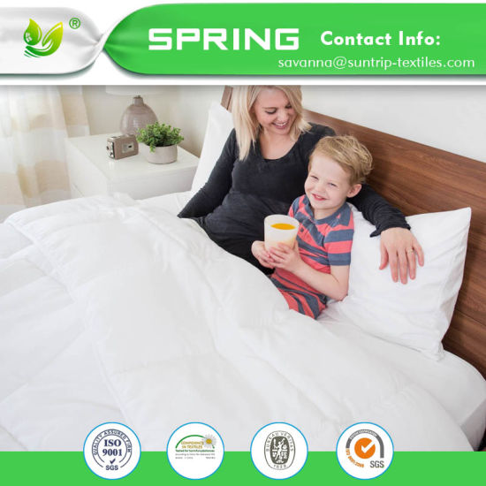 Hypoallergenic Waterproof Mattress Protector Breathable Fitted Sheet Dust Mite Queen Size White