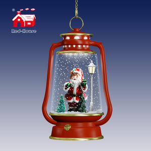 Christmas Ornaments Red Hanging Led Lamps with santa clause inside and Lovely music
