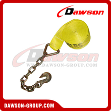 3 inch 30 feet Winch Strap with Chain and Hook