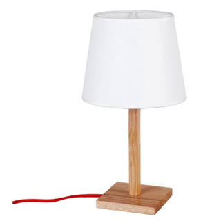 Modern cozy wooden table lighting with white lampshade (LBMT-XF)