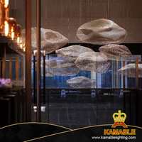 Hotel Lobby Customized Size in Iron Mesh Grid Chandelier (KJ011)