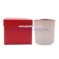 8oz glossy white glass candle jar/cup/holder with red gift box packing