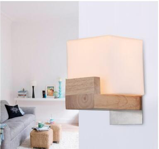 Factory price hot sale hotel room modern wall light wood America countryside style wall light with glass shade(KAW0101)