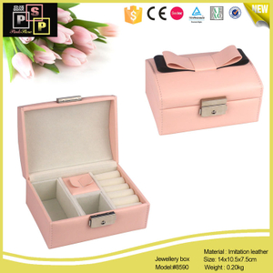 Pink White Small Cute PU leather Jewelry Box With Lock