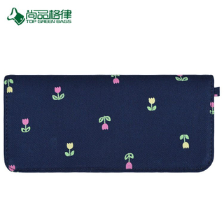Custom High quality Canvas Floral Pattern Folder Long Coin Purse Bags