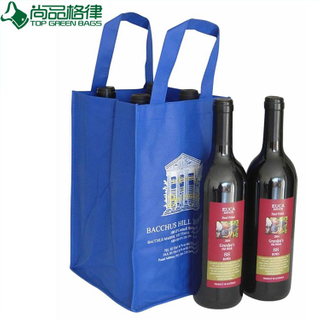 Wholesale Cheap Non Woven 4 Bottles Wine Bag (TP-WB072)