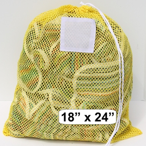 Yellow Blue Mesh Net Draw String Laundry Bag