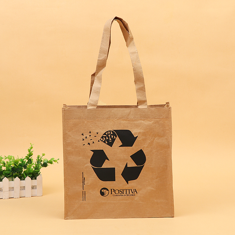 New product anti tear reusable brown quadrillage paper tote bag