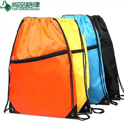 Drawstring Backpack with Front Pocket and Earphone Hole (TP-dB071)
