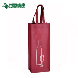 Customized Non Woven Single Bottle Bag Gift Wine Tote Bags (TP-WB124)