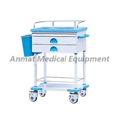 Medical Double drawers treatment cart used for hospital