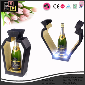 Wine Box Manufacturer Black Leather Bottle Shape LED Wine Rack