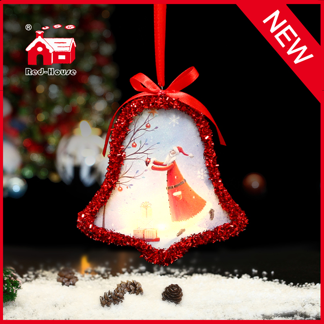 Glass Lighted Christmas Bell Shaped Santa Ornament with LED