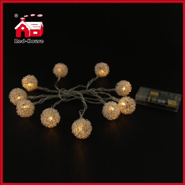 Metal LED Color Ball Pendant Decorative Light String Holiday Decoration
