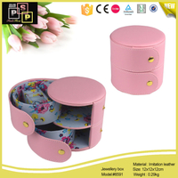 Pink White Small Cute PU leather 2 ply round jewelry box